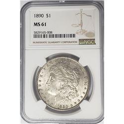 1890-P Morgan Silver Dollar $1 NGC MS61