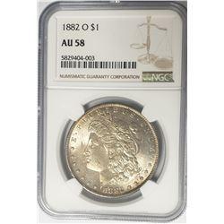 1882-O Morgan Silver Dollar $1 NGC AU58