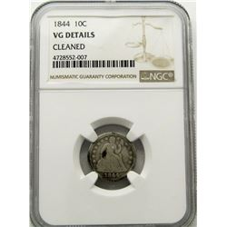 1844 SEATED DIME NGC VG DETAILS