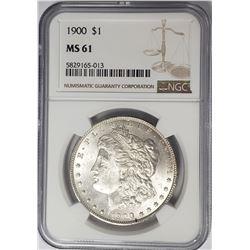 1900-P Morgan Silver Dollar $1 NGC MS61