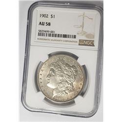 1902-P Morgan Silver Dollar $1 NGC AU58