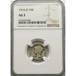 1916-D MERCURY DIME NGC AG3