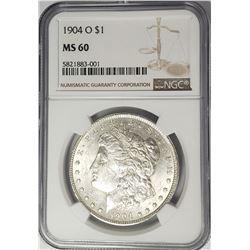 1904-O Morgan Silver Dollar $1 NGC MS60