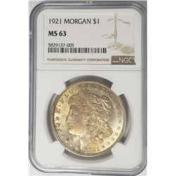 1921-P Morgan Silver Dollar $1 NGC MS63