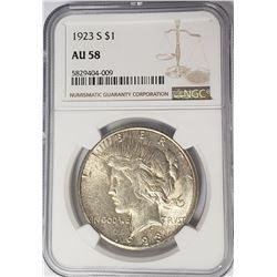1923-S Peace Dollar $1 NGC AU58
