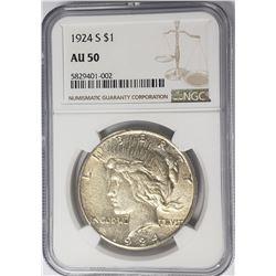 1924-S Peace Dollar $1 NGC AU50