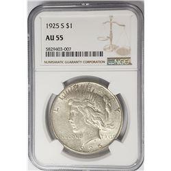 1925-S Peace Dollar $1 NGC AU55