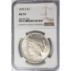 1925-S Peace Dollar $1 NGC AU53