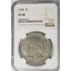 1934-P Peace Dollar $1 NGC XF40