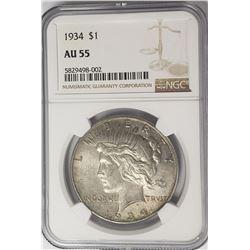 1934-P Peace Dollar $1 NGC AU55