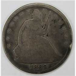 1869 SEATED HALF DOLLAR