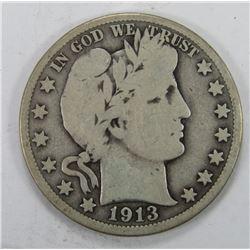 1913 BARBER HALF DOLLAR