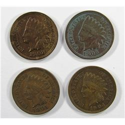 4- NICE INDIAN CENTS- 1901, 1902, 1904, 1906
