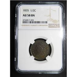 1835 HALF CENT NGC AU58 BROWN