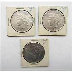 3 - AU PEACE DOLLARS