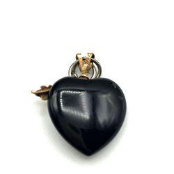 10K BLACK HEART PENDANT W LEAVES