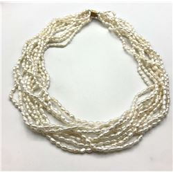 14K LAYERED RICE PEARL NECKLACE