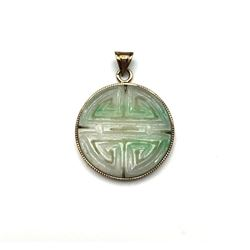 14K PENDANT POSSIBLE JADE WHITE/GREEN