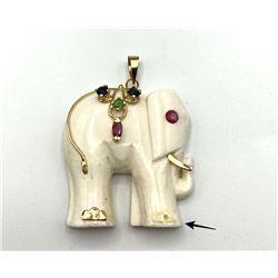 14K WHITE ELEPHANT PENDANT W STONES