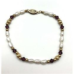 14K RICE PEARL BRACELET W GOLD ACCENTS