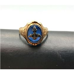 10K RING W ONXY AND ANCHOR SIZE 5