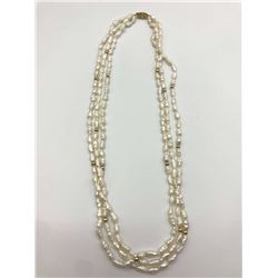 14 RICE PEARL TRIPLE STRAND NECKLACE