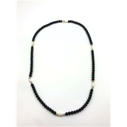 14K NECKLACE W RICE PEARLS & BLACK BEADS