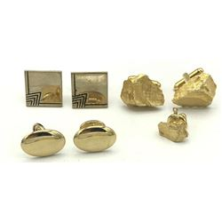 3 PAIR GOLD COLOR CUFF LINK+1 MATCHING PIN