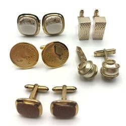 5 PAIRS OF CUFF LINKS GOLD TONE STUNNING