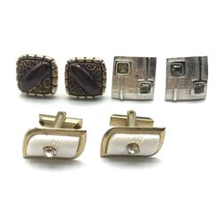 3 PAIRS OF CUFF LINKS SILVER TONE FANCY!