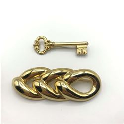2 GOLD TONE BROOCHES 1-KEY