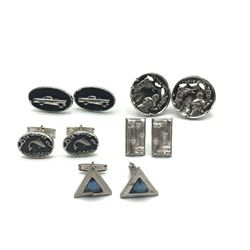 5 PAIRS OF SILVER TONE CUFF LINKS