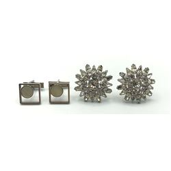 2 PAIRS OF CUFFLINKS 1-RHINESTONES!!!!