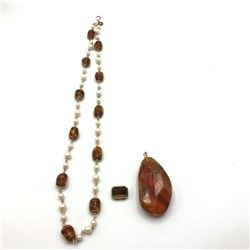 BROWNISH STONE LOT NECKLACE 2 PENDANTS