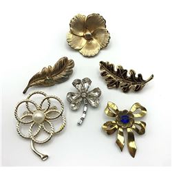 6 FLOWER/LEAVES BROOCHES/ PINS