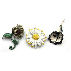 3 FLOWER BROOCHES (1-DD, 1 ART)
