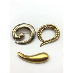 3 GOLD TONE BROOCHES W UNIQUE DESIGN