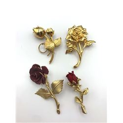 4 ROSE SHAPED BROOCHES