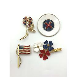4 USA RED WHITE BLUE BROOCHES-FLAG