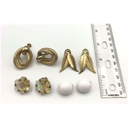 4 PAIRS CLIP/SCREW ON EARRINGS SIGNED!
