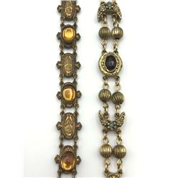 2 OLD BRACELETS WITH STONES