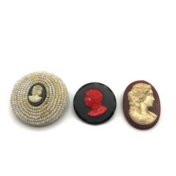 3 VINTAGE CAMEO BROOCHES