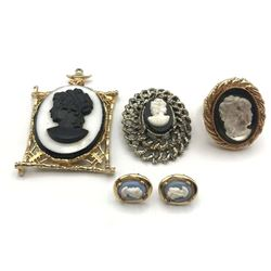 CAMEO LOT!!! RING, 2 BROOCHES, EARRINGS