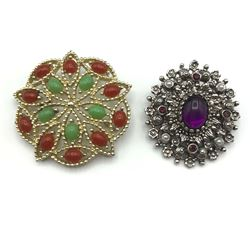 2 SARAH COVENTRY BROOCHES COLORED!