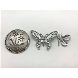 3 SARAH COVENTRY BROOCHES SILVER TONE