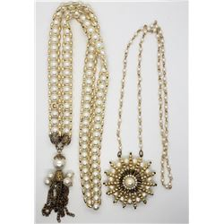 2-VINTAGE GOLD TONED WHITE BEADED NECKLACES