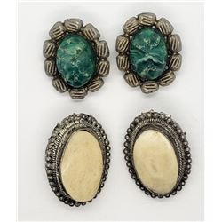2-PAIRS OF SILVER CLIP ON EARRINGS