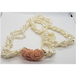 VINTAGE WHITE BEADED LAYERED NECKLACE WITH