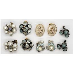 5-PAIRS OF VINTAGE CLIP ON/TWIST BACK EARRINGS