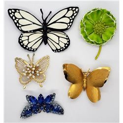 VINTAGE BUTTERFLY BROOCH LOT: (4)BUTTERFLIES